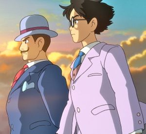 Wind Rises' Giovanni Caproni and Jiro stand together to watch airplanes fly