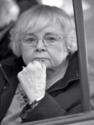 Nebraska's June Squibb looks through open car window
