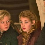 Sophie Nelisse, Nico Liersch and Emily Watson hide in bomb shelter