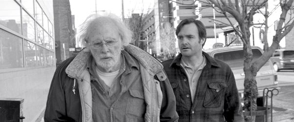 Nebraska's Bruce Dern ad Will Forte amble down street