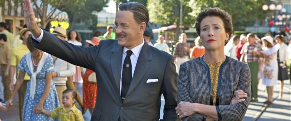 Saving Bank's Tom Hanks and Emma Thompson stroll in Disneyland