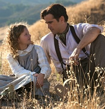 Saving Mr Banks' Annie Rose Buckley and Colin Farrell sit on hillside