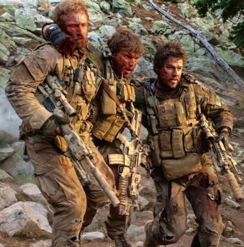 Navy SEALs Mark Wahlberg, Emile Hirsch, Ben Foster struggle down rocky hill under fire