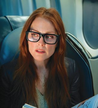 Non-Stop's Julianne Moore gets anxious in airline seat