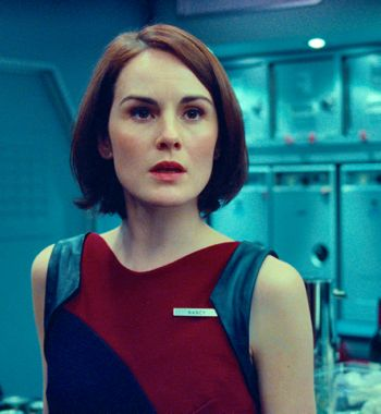 Non-Stop's Michelle Dockery looks out at air passengers