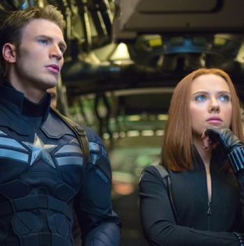 Captain America and Black Widow gaze off camera