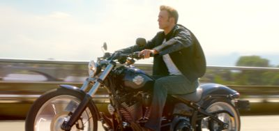 Marvel's Captain America rides motorcycle