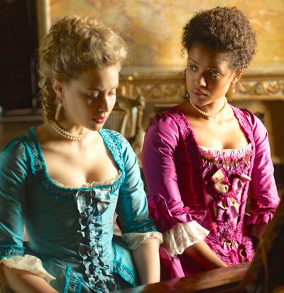 Belle's Sarah Gadon and Gugu Mbatha-Raw play the piano