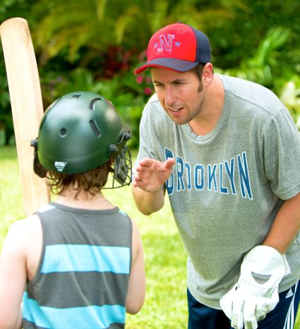 Blended's Adam Sandler teaches batting to a young boy