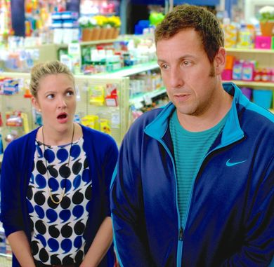 Blended's Drew Barrymore and Adam Sandler stand at pharmacy counter