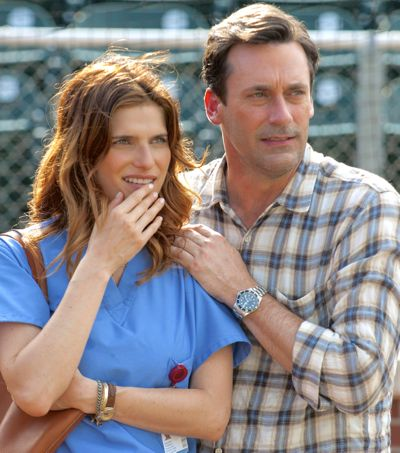 Million Dollar Arm's Lake Bell and Jon Hamm watch baseball practice