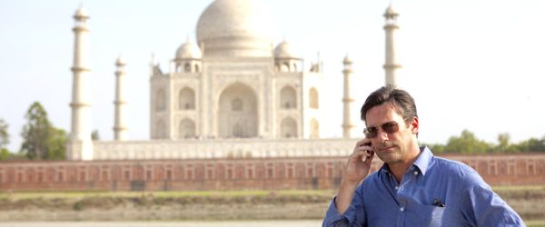 Million Dollar Arm's Jon Hamm makes phone call near Taj Mahal