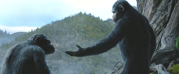 Dawn Planet Apes' Andy Serkis (as an ape) holds hand out to Toby Kebbell