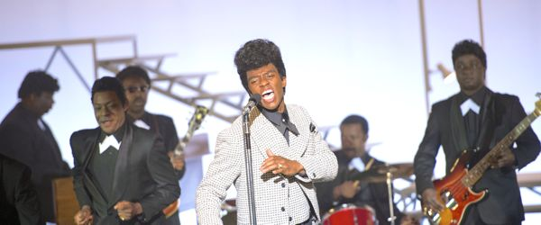 Get on Up's Chadwick Boseman fronts his band on stage
