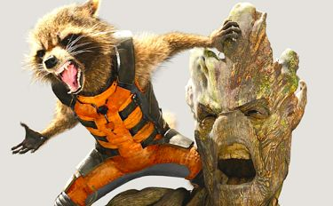 Guardians of Galaxy's raccoon Rocket and tree-like hominid Groot roard in anger