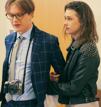 I Origins' Michael Pitt and Astrid Bergès-Frisbey stand in office doorway