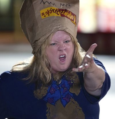 Tammy's Melissa McCarthy festures with paper bag on her head