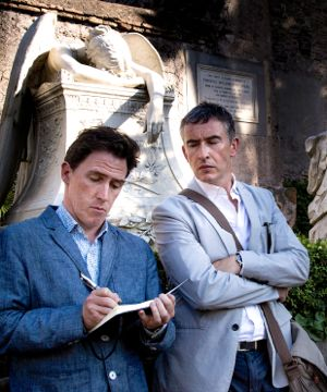 Trip to Italy's Steve Coogan watches Rob Brydon take notes in Italian garden