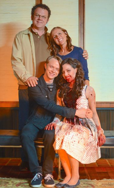 Life After Beth's characters pose on doorstep