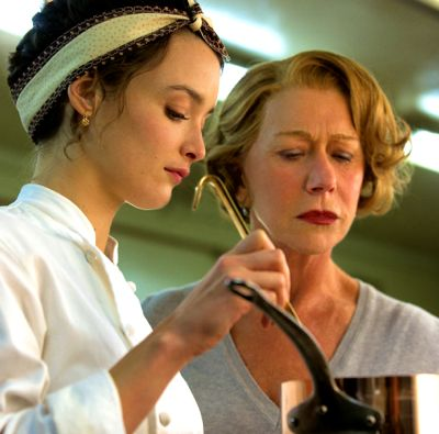 Helen Mirren and Charlotte Le Bon sample a sauce in kitchen