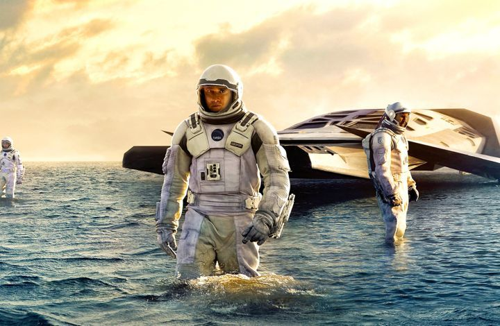 Interstellar's astronauts wade on a watery planet