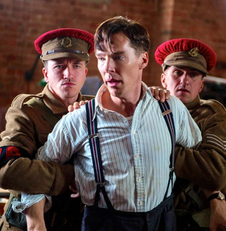 Imitation Game's Benedict Cumberbatch is held tightly by two marines