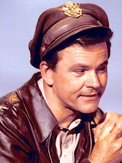 Bob Crane poses dressed as Colonel Robert E Hogan