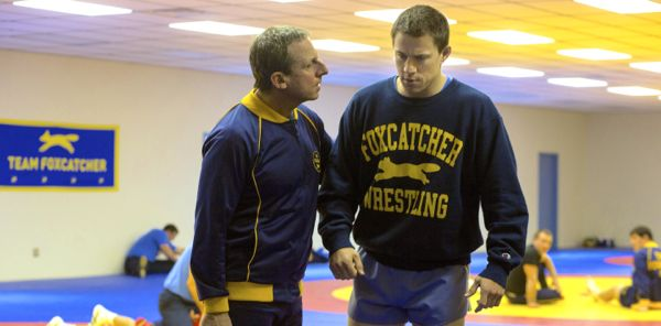 Foxcatcher's Steve Carell encourages Channing Tatum in wrestling gym