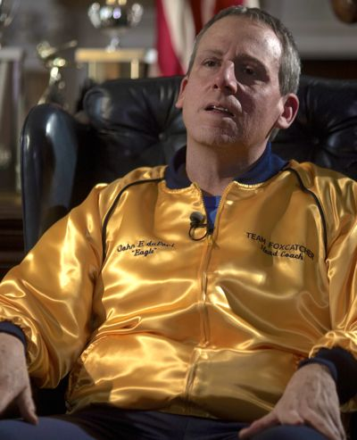 Foxcatcher's Steve Carell leans back in easy chair