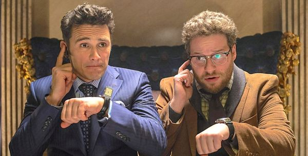 Interview's James Franco, Seth Rogen check watches