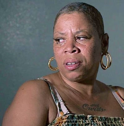 Tales Grim Sleeper's Pam Brooks looks to her right