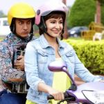 PK's Aamir Khan rides on motorbike with Anushka Sharma
