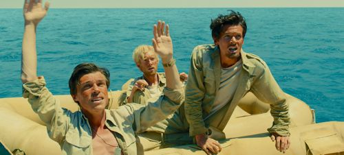 Unbroken's Jack O'Connell at raft in Pacific with two fellow aviators