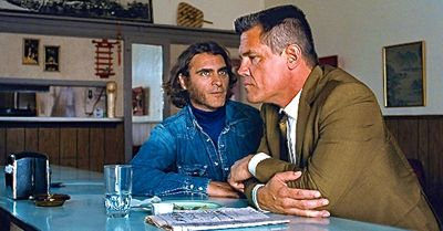 Inherent Vice's Joaquin Phoenix and Josh Brolin sit at lunch counter