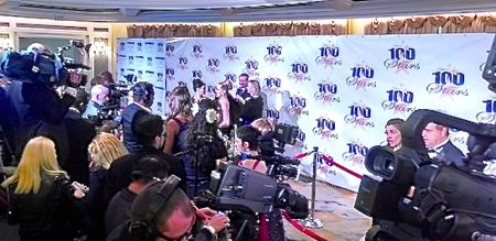 Media photographs celebs on red carpet at Night of 100 Stars