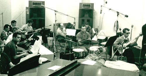 Vintage photo of a Wrecking Crew recording session