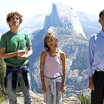 Road Within's Robert Sheehan, Zoe Kravitz, Dev Patel pose a distance from Yosemite's Half Dome
