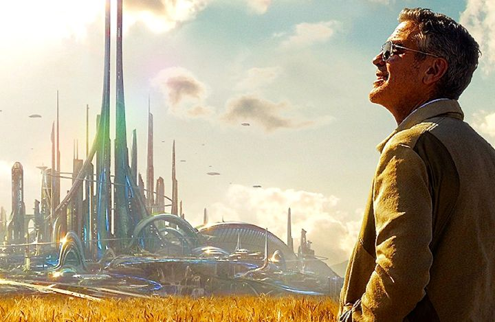 Tomorrowland's George Clooney gazes at distant cityscape