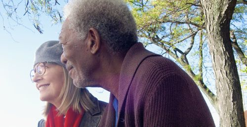 5 Flights Up's Diane Keaton and Morgan Freeman look out from New York balcony