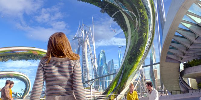 Tomorrowland's Britt Robertson stares up at city of the fulture