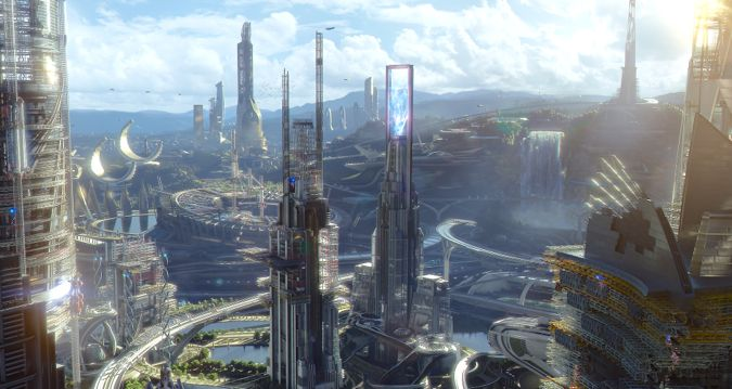 Tomorrowland's city of future reaches up to sky
