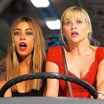 Hot Pursuit's Reese Witherspoon and Sofia Vergara cry out behind wheel of bus