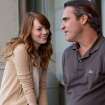 Irrational Man's Joaquin Phoenix chats with Emma Stone on front porch