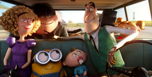 Minion's Bob is jammed into car among Nelson family of villains