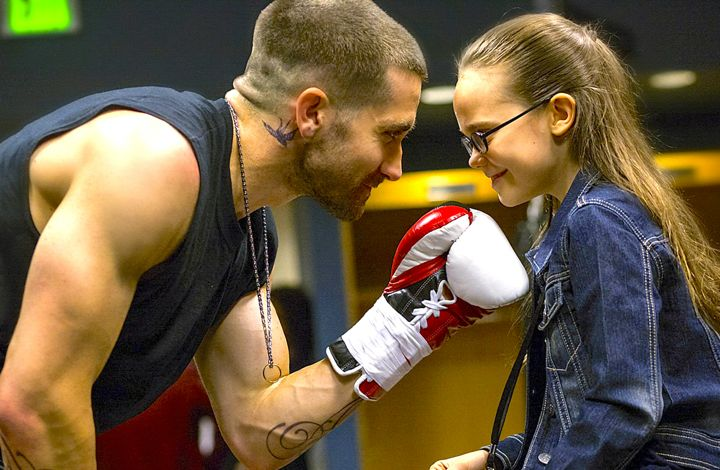 Southpaw's Jake Gyllenhaal and daughtr Oona Laurence share moment before he enters boxing ring
