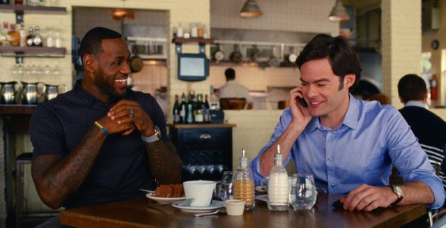 Trainwreck's LeBron James has lunch with Bill Hader in cafe