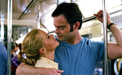 Trainwreck's Amy Schumer gets close to Bill Hader on NY subway