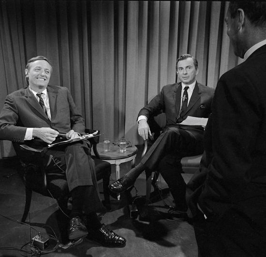 Best of Enemies' William F. Buckley and Gore Vidal pictured on TV broadcast set before debate