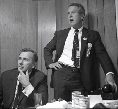 Gore Vidal and Paul Newman watch TV during 1968 Democratic Convention