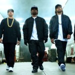 Straight Outta Compton's rap group N.W.A. strut toward camera